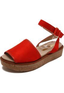 Sandália Flatform Moleca Lisa Vermelha