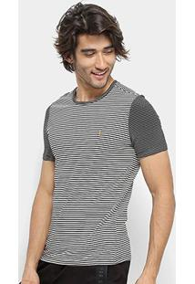 Camiseta Zoomp Base Viscostripes Masculina - Masculino-Preto+Off White