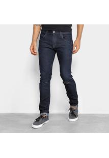 Calça Jeans Skinny Rock & Soda Skinny Rasgada Masculina - Masculino-Marinho