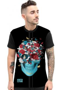 Camiseta Hunter Skull Blue Preta