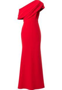 Badgley Mischka Vestido Ombro Único Com Drapeado - Vermelho