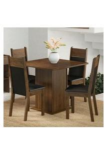 Conjunto Sala De Jantar Madesa Malibu Mesa Tampo De Madeira Com 4 Cadeiras Rustic/Preto/Sintético Preto Rustic