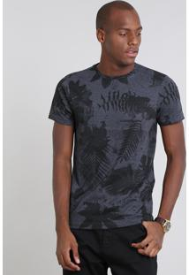 Camiseta Masculina Estampada Folhagem Manga Curta Gola Careca Cinza Mescla Escuro
