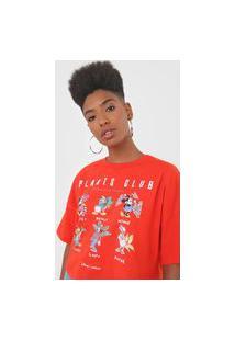 Camiseta Cropped Colcci Plants Club Vermelha