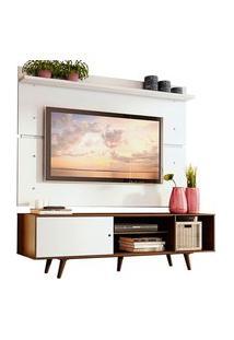 Rack Madesa Dubai E Painel Para Tv Até 65 Polegadas Com Pés Rustic/Branco 6E9B Branco