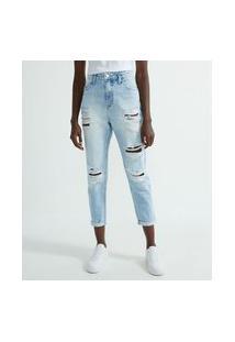Calça Jeans Fit Mom Com Puídos E Patch No Bolso Traseiro   Blue Steel   Azul   46