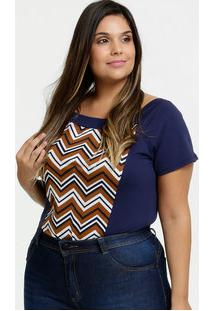Body Feminino Estampa Zig Zag Plus Size