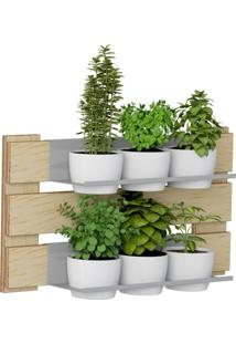 Kit Jardim Vertical 1006 Lyam Decor Green Com 06 Cachepots Bege