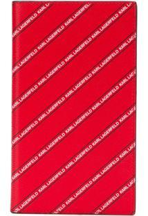 Karl Lagerfeld Carteira Listrada Com Logo - Vermelho