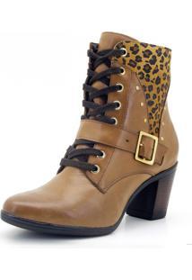 Botinha Atron Shoes 9066 Whisky Com Onça