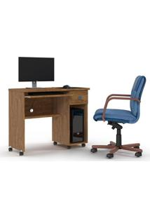 Mesa Computador Office Vicenza Amêndoa - Lukaliam