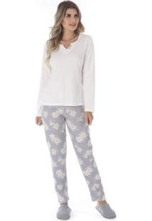 Conjunto Pijama Victory De Inverno Madam Feminino - Feminino-Off White