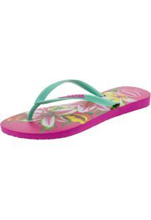 Chinelo Feminino Slim Floral Havaianas - 4132567 Pink 37/38
