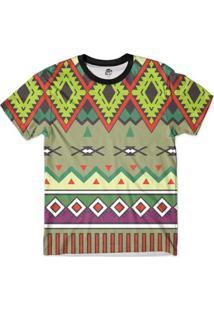 Camiseta Bsc Tribal Psicodélico Full Print - Masculino-Verde