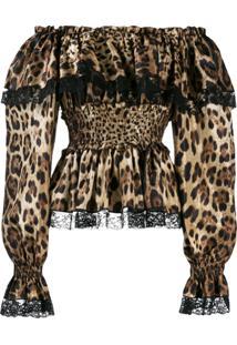 Dolce & Gabbana Blusa Peplum Com Animal Print - Marrom
