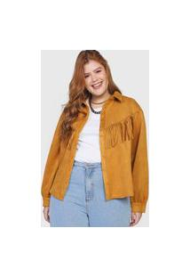 Camisa Forever 21 Plus Suede Franjas Amarela