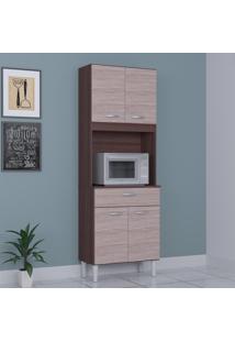Cozinha Compacta 4 Portas 1 Gaveta Kit Cássia 6175 Capuccino/Amêndoa - Poquema