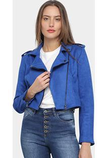 Jaqueta Drezzup Suede Feminina - Feminino-Azul