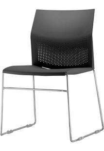 Cadeira Connect Assento Preto Base Fixa Cromada - 53767 Sun House