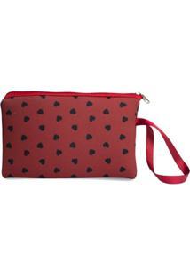 Necessaire Clássica Em Neoprene Tritengo Mini Corações Red - Feminino-Vermelho Escuro