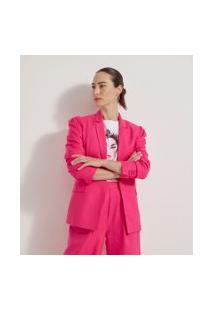 Blazer Alongado Liso Com Pregas Nos Ombros | Cortelle | Rosa | 40
