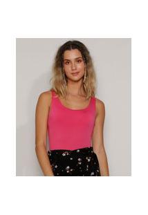 Body Feminino Básico Alça Média Decote Redondo Pink