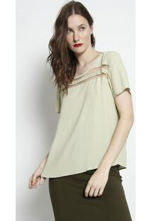 Blusa Texturizada Com Tule- Verde Claro & Bege- Foruforum