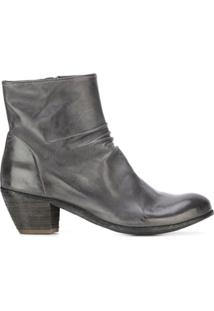 Officine Creative Ankle Boot De Couro Com Zíper 'Chabrol' - Cinza