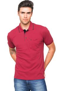 Camisa Polo Piquet Tony Menswear Com Bolso Modelagem Ampla Vermelha