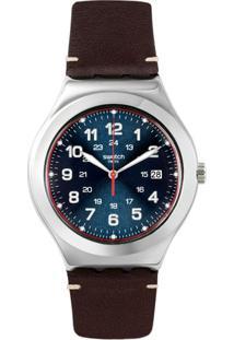 Relógio Swatch Masculino Couro Marrom - Yws440