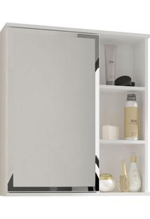 Espelho Para Banheiro C/ 1 Porta E 1 Prateleira Treviso - Mgm - Branco