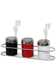 Suporte Para Condimentos Gotas Metaltru - Metalic Cromo/Branco