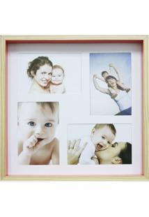 Quadro Para Fotos Wood Natural E Laranja 30X30Cm