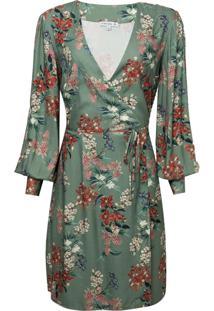 Vestido Dudalina Decote V Transpassado Ml Estampa Floral Verde Feminino (Estampado Floral Verde, 36)
