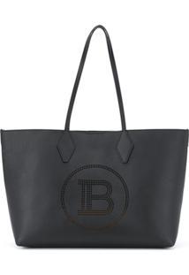 Balmain Bolsa Tote Com Detalhe De Logo - Preto