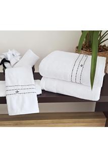 Jogo De Toalhas (Banho E Rosto) Super Grande Coleção Piemom Branco E Prata Shantung Com 5 Peças - Bernadete Casa