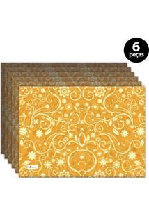 Jogo Americano Mdecore Arabesco 40X28 Cm Amarelo 6Pçs