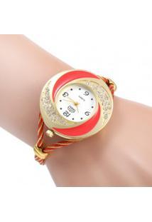 Relógio Feminino Quartzo Com Design Árabe - Vermelho