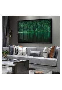 Quadro 60X90Cm Conífera Jardim Árvore Folhagem Verde Moldura E Vidro Cristal