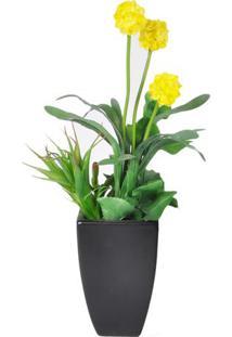 Vaso Com Flores Artificiais- Verde & Amarelo- 41Xã˜38Btc Decor