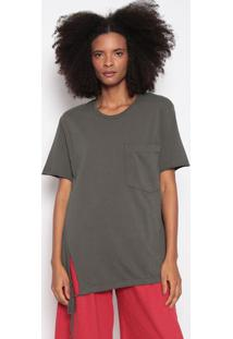 Blusa Com Bolso & Canaleta-Verde Escuroosklen