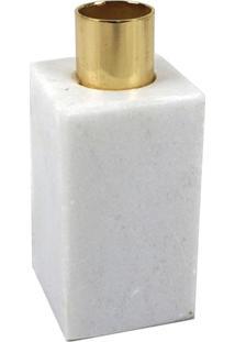 Castical Dourado Com Base De Mármore Branco