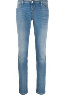 Emporio Armani Calça Jeans Reta Cintura Alta Com Efeito Desbotado - Azul