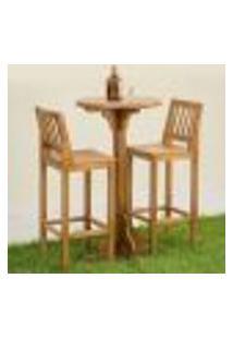 Conjunto Mesa Bistrô Com 2 Banqueta Alta Confort Madeira Maciça