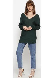 Blusa Alongada- Verde Escurohering