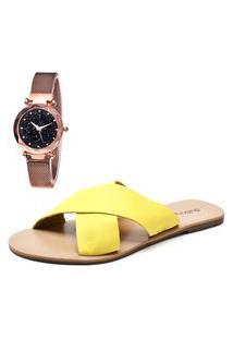 Sandália Com Relógio Gold Feminina Dubuy 2028Mr Amarelo