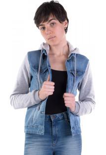 Jaqueta Jeans Com Mangas Em Moletom