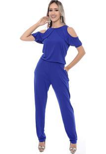 Macacão Longo B Bonnie M/C Diana Azul Royal - Kanui