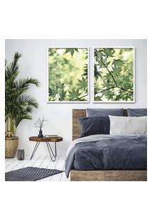 Quadro 65X90Cm Galhos Com Folhas Verdes Moldura Branca Com Vidro