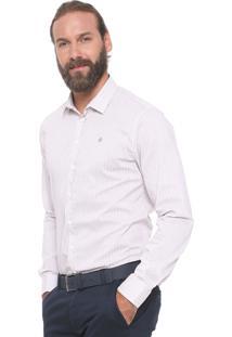 Camisa Forum Reta Listras Branca/Bege